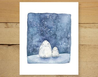 Ursa the bears - Whimsical, nightsky, childrens illustration. Big dipper, little dipper constellation art.