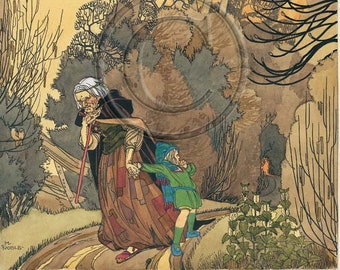 Hansel and Gretel, In The Forest, Witch, Illustration 1920s Print