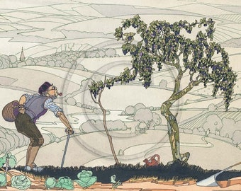 Tree, Ripe Damsons, Old, Wise Man, Vintage 1920s Illustration Print