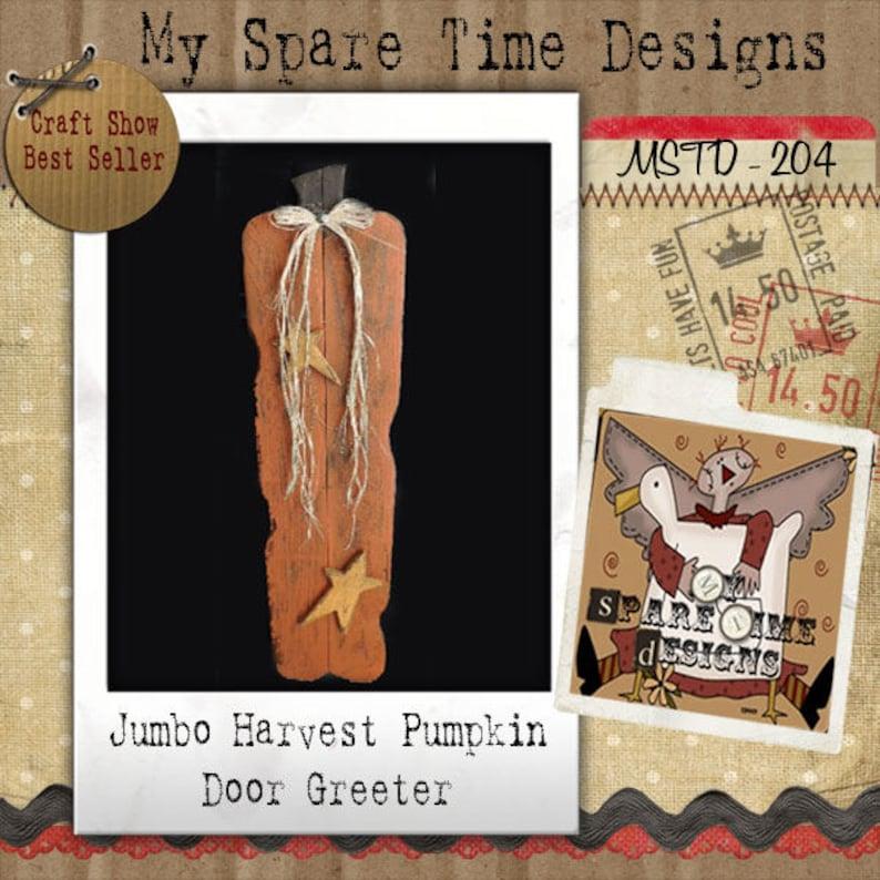 Wood Pumpkin Pattern Primitive Halloween Pattern Primitive image 0