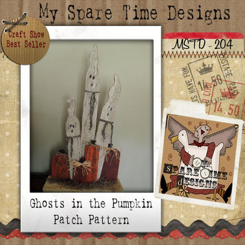 Wooden Ghosts Pumpkin Pattern Primitive Halloween Pattern image 0