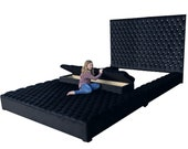 Tufted Velvet Platform Bed King Extra Large Wide Bed Diamond Tufted Bed Frame Tall Headboard Storage Bench and Ottoman Choose Fabric CUSTOM