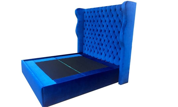 Wingback Bed Tufted Tall Headboard Curvy Velvet Platform Bed Frame Footboard Crystal Button California King Queen Full Twin CUSTOM MADE