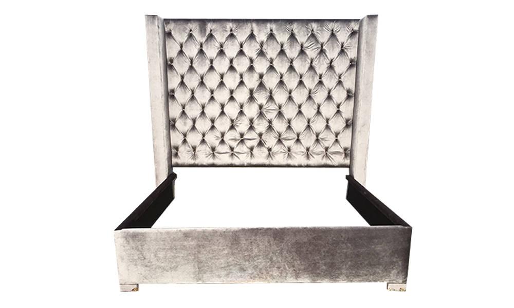 Tufted Wingback Headboard Bed Extra Tall Diamond Tufted Etsy