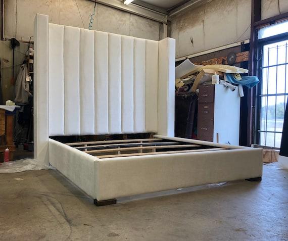 Modern Tall Headboard Platform Bed Frame California King Queen Etsy