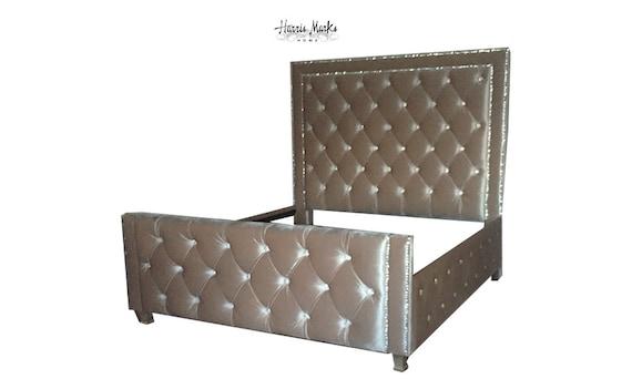 Crystal Tufted Headboard Tall Bed Frame Diamond Tufting Velvet | Etsy