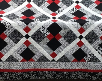 Queen size Quilt pattern;  Red, Black and White quilt Disappearing nine patch