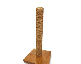Cat Scratching Post - Solid Cherry and Manila Rope  with Clear Finish