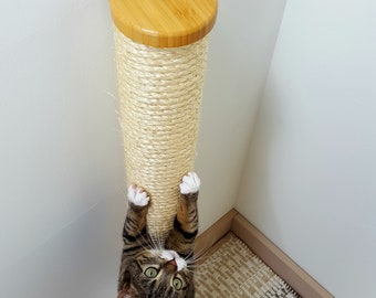 Wall Mounted Cat Scratching Post - with Sisal Rope - Multiple Sizes
