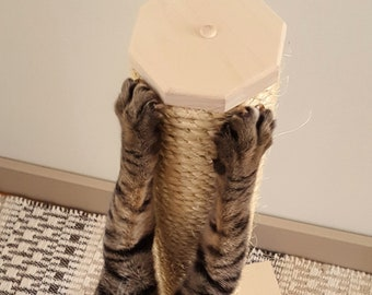 Cat Scratching Post -  Multiple Sizes - Solid Wood and Sisal