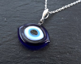 6990e1c2c Evil Eye Necklace, Navy Blue Evil Eye, Good Luck Charm, Good Luck Gift,  Protect, Lucky, Turkish Eye, Sterling Silver, Ellipse, 18 inch Chain