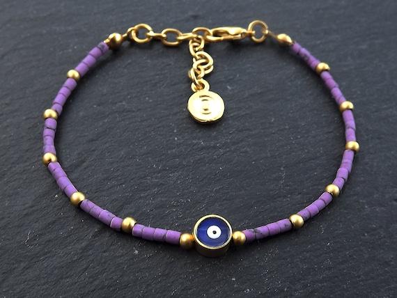 Evil Eye Bracelet, Good Luck Gift, Protect, Lucky, Purple Bracelet,  Friendship Bracelet, Gift for Her, Gift for Him, Turkish Eye, Nazar,