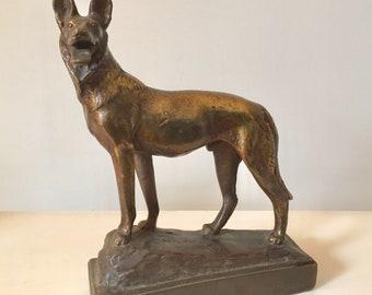Lovely Antique Pompeian Bronze Dog By Paul Herzel