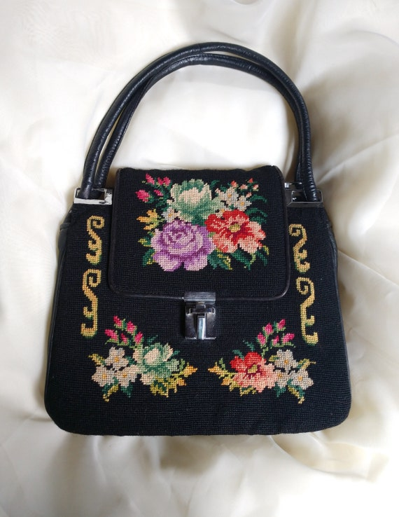 Floral Ladies Needlepoint Tapestry Bag