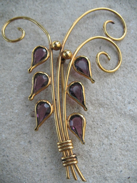 14K and Amethyst Lily of the Valley Brooch