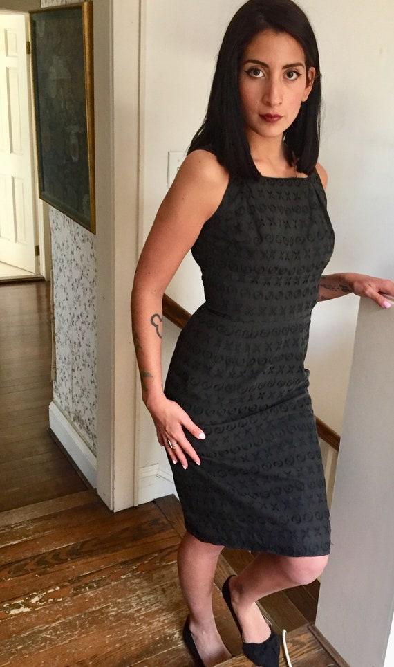 Black Cotton Sleeveless Eyelet Dress