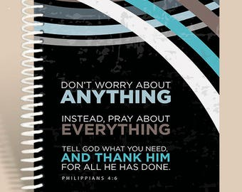 Prayer Journal Seaboard Design / Phil 4:6 / Personalized Notebook / Men's Journal