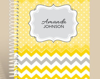 PERSONALIZED Yellow Chevron Notebook / Personalized Journal / Monogrammed Journal