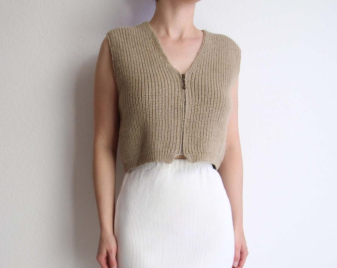 Vintage Cropped Sweater Sleeveless Wool Vest 1990s Natural Womens Top Medium