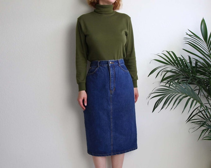 Vintage Jean Skirt Dark Denim Pencil Skirt Womens Large