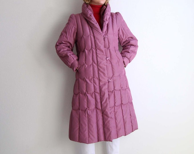Vintage 1980s Puffy Coat Womens Extra Small Down Puffer Winter Coat Pink