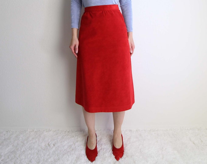 Vintage Red Skirt Womens Extra Small 1970s Ultrasuede Aline