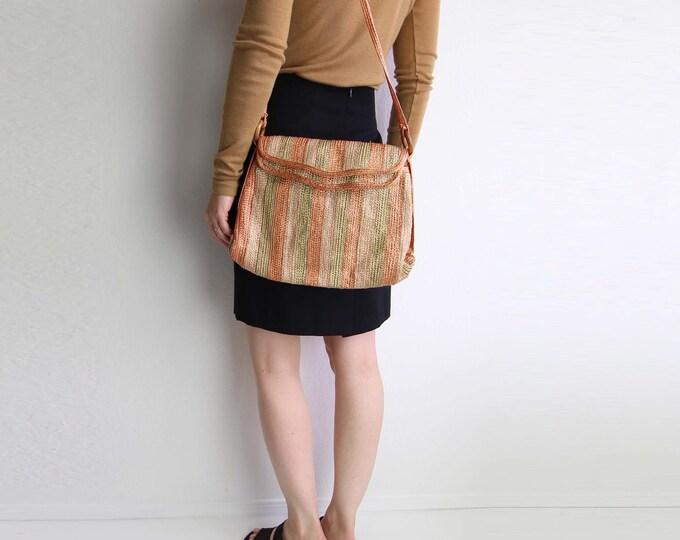 Vintage Straw Purse Shoulder Bag Market Bag Mellon Stripe Raffia