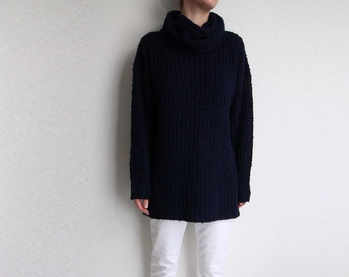 Vintage Turtleneck Sweater Womens Top Long Navy Blue 1980s Boucle Knit
