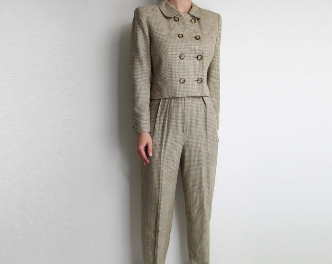 Vintage Womens Suit 1990s Cropped Jacket High Waist Trousers Plaid Small