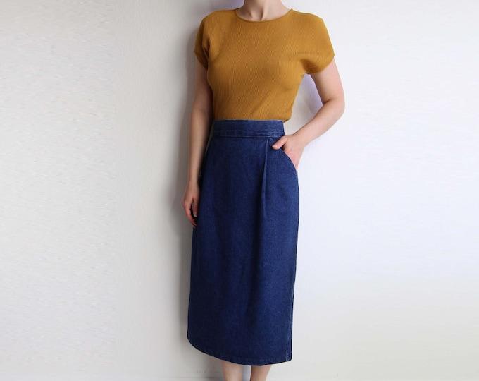Vintage Denim Skirt Womens Large Denim Pencil Skirt Long Blue
