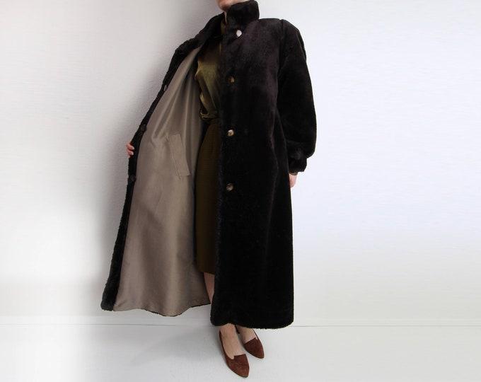 Vintage Womens Coat Faux Fur Coat Reversible 1980s Chocolate Brown Medium