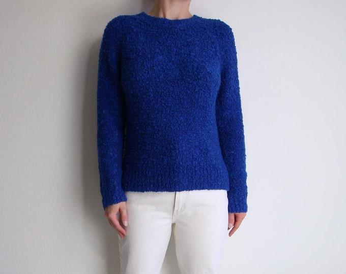 Vintage Blue Sweater Womens Medium 1980s Boucle Knit