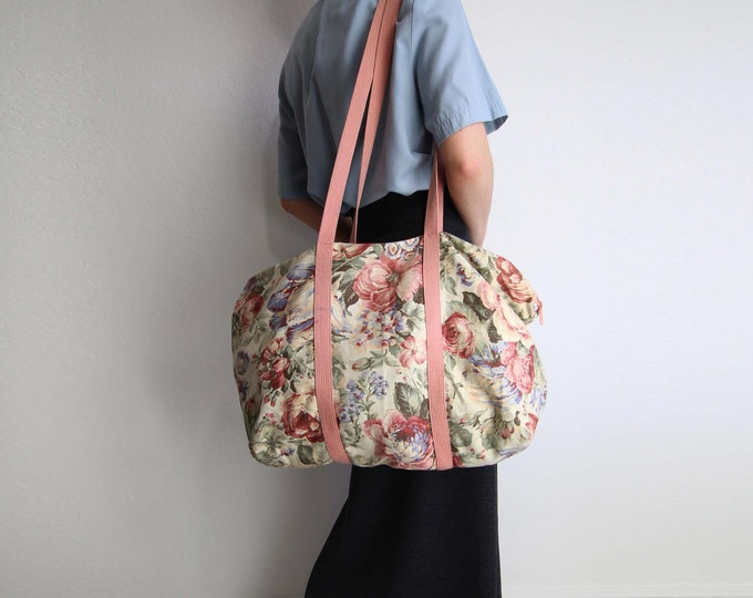 Vintage Duffle Bag Overnight Bag Weekend Bag 1990s Pink Rose Large Shoulder Bag