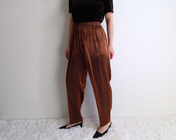 Vintage Womens Pants Size Large Copper Metallic