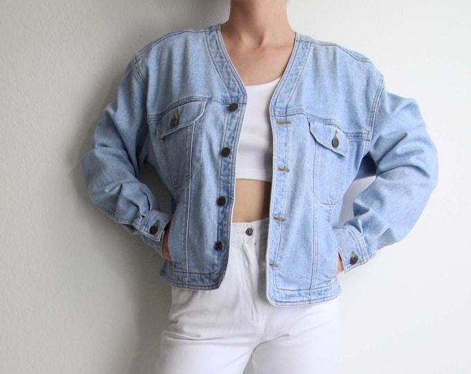 Vintage Denim Jacket Jean Jacket Womens 1990s Light Blue Medium
