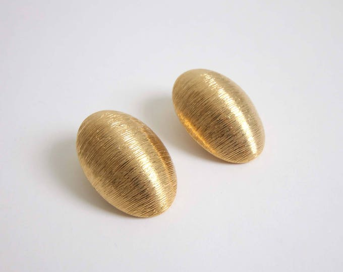 Vintage Earrings 1980s Big Earrings Gold Oval Large Clip Ons