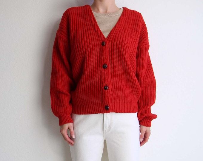 Vintage Red Cardigan 1980s Womens Sweater Medium