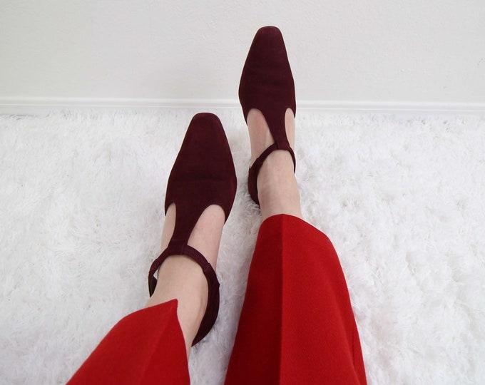 Vintage T Strap Heels Suede Pumps 1990s Heels Womens Shoes Size 8.5