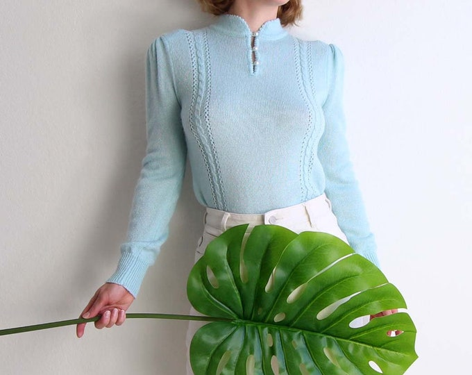 Vintage Womens Sweater 1980s Knit Top Blue Small