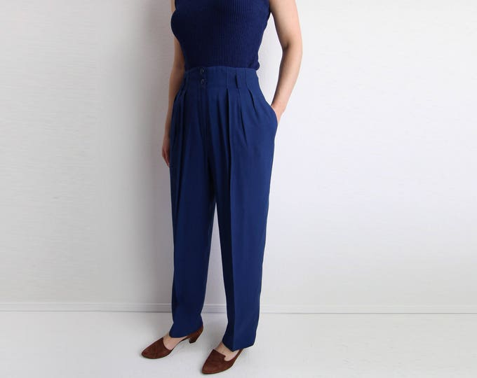 Vintage Womens Pants Indigo Trousers High Waist Tapered Leg Small
