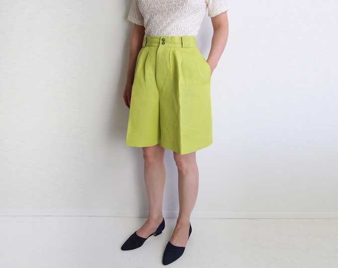 Vintage Womens Shorts Linen Shorts Chartreuse High Waist Pleated Medium