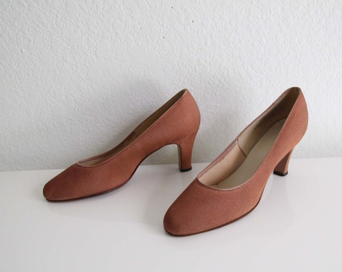 Vintage Heels Fabric Pumps Toffee Womens Shoes Size 7