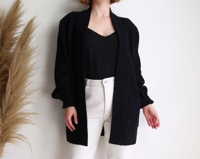 Vintage Black Cardigan Womens Sweater Large Long