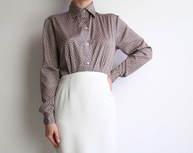 Vintage Blouse Womens Top 1980s Dot Print Taupe Longsleeve Shirt Small