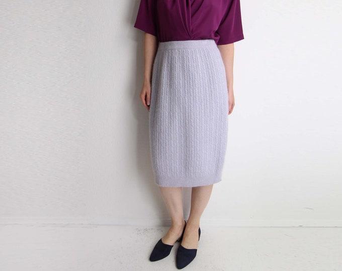 Vintage Knit Skirt Angora Sweater Skirt Lavender Purple Womens Medium