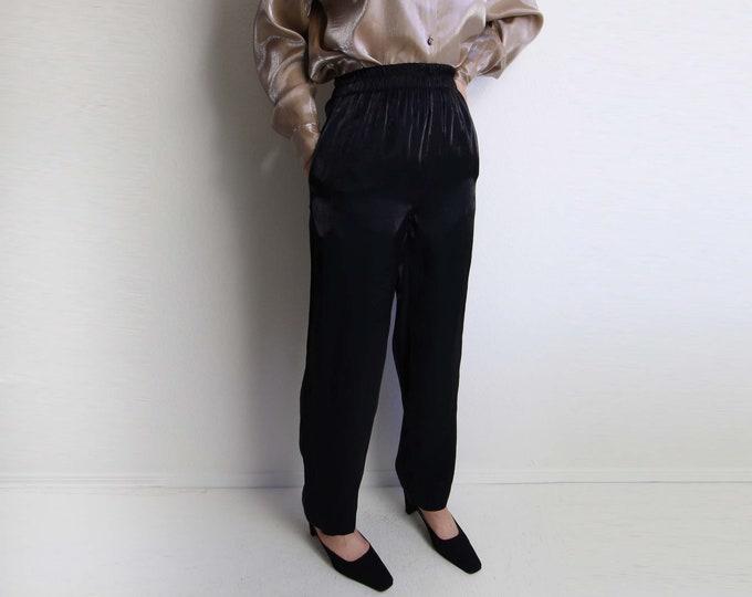 Vintage Womens Pants Black Metallic High Waist Casual Small