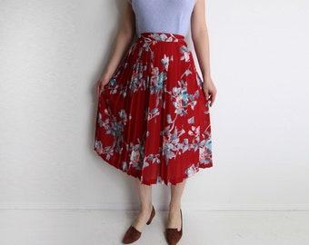 fc3f8f6f79ec3 Vintage Floral Skirt Pleated Full Skirt 1980s Red Chiffon Womens Small