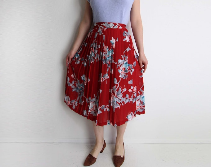 Vintage Floral Skirt Pleated Full Skirt 1980s Red Chiffon Womens Small