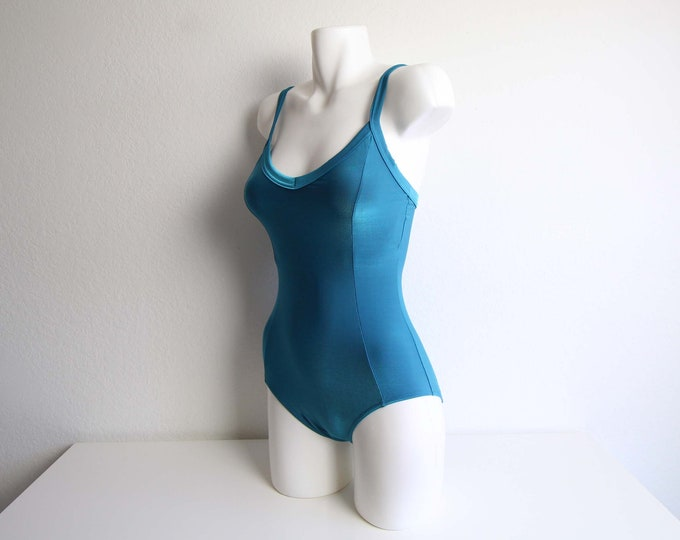 Vintage Swimsuit Womens Onepiece Bathingsuit 1990s Teal Blue Small Swimwear