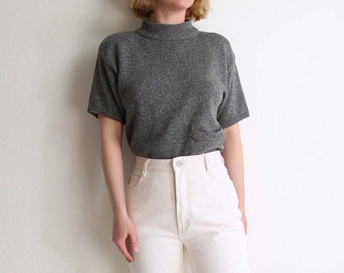 Vintage Sweater Womens Top Knit Shirt Green Medium